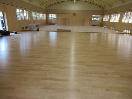 高校武道場の床工事